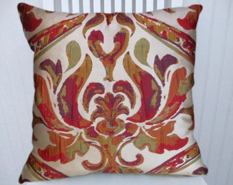 Red Orange Throw Pillow- 18x18 or 20x20 or 22x22- Pillow Cover-Green, Orange, Purple- Accent Pillow