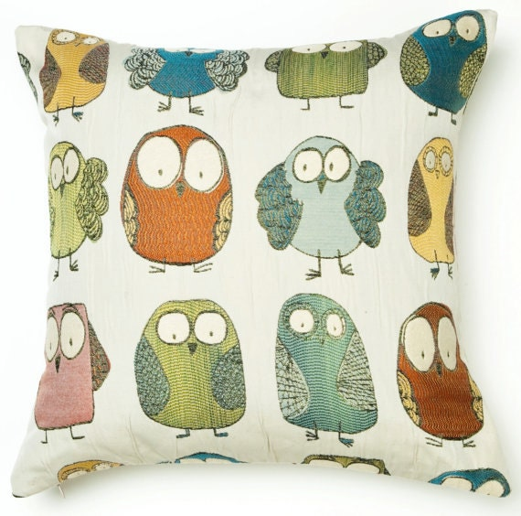 Owl Throw Pillow Etsy : Owl Pillow CoverDecorative Pillow Cover by CodyandCooperDesigns