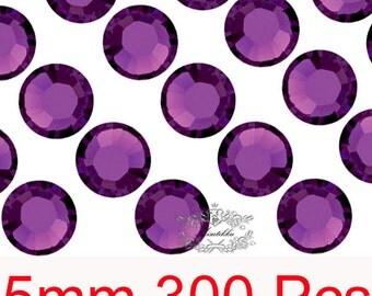 300 PCS X 5mm SS20 Round Amethyst Dark Purple Rhinestone High Quality Bling 14 Faceted Cut Crystal Gems Flat back Deco Nail Art (GM.R5DU)