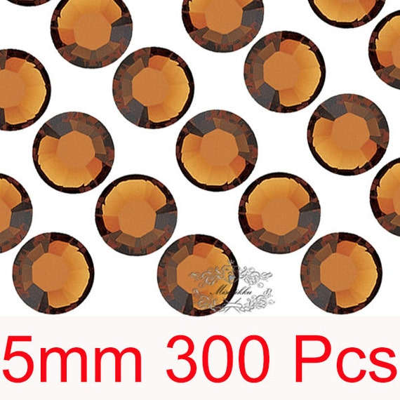 300 PCS X 5mm SS20 Round Smoked Topaz Brown Rhinestone High Quality Bling 14 Faceted Cut Crystal Gems Flat back Deco Nail Art (GM.R5C)
