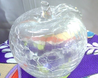 Hollow Crackle Glass Apple with Leaf