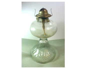 Vintage Oil Lamp Base with Burner and Wick - Functional