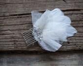 Bridal Hair Comb - Feathers & Rhinestone wedding hair comb - FA123