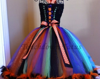 Halloween tutu dress with witch hat