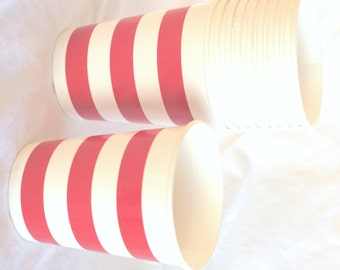 PaRTy CuPs Red and White stripe-with free DIY printable label option--Birthday parties---10ct