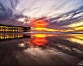 Beach Photography - Sunset, San Diego, California, Reflection, Ocean, Waves, Wooden Pier, Red, Orange, Sky, Clouds, Yellow, Clouds, Nature