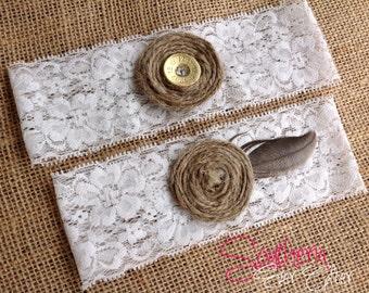 Rustic SHOTGUN SHELL GARTER Simple Version  / Rustic Wedding Garter / lace garter / Something Blue wedding garter / vintage / Shabby Chic