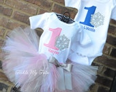 Winter ONEderland Snowflake Twin Birthday Tutu Outfit, Winter ONEderland Boy/Girl Twin Pink and Blue Outfit, Winter ONEderland Twin Set