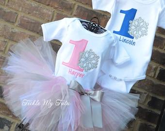 Winter ONEderland Snowflake Twin Birthday Tutu Outfit, Winter ONEderland Boy/Girl Twin Outfit, Winter ONEderland Twin Set
