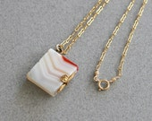 Antique Victorian Banded Agate Book Pendant Necklace on 14K Gold Fill Chain, Vintage 1880s