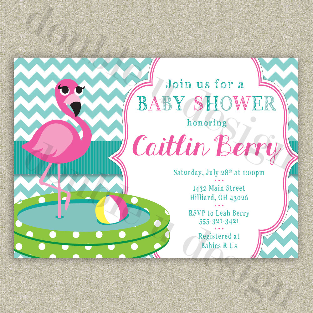 pink flamingo chevron baby shower invitation by doubleudesign