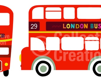 London Double Decker Red Bus Digital Clip Art  Clipart Set - Personal and Commercial Use