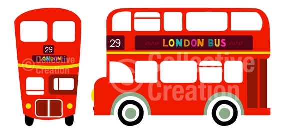 london double decker red bus digital clip by