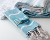 Turkish Towel Set of 4: Light bath towel, beach towel, blanket, shawl, throw, fouta, peshtemal - Striped blue and white - Soft Cotton Towel