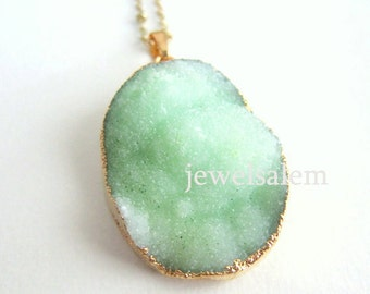 Druzy Necklace Geode Drusy Rough Gem Stone Gold Edge Layered Long Mineral Pendant Natural Rustic Statement Chunky Medium Crystal Quartz