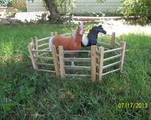 "Breyer Horse Traditional scale wooden corral - pasture fence - recycled wood 6"" tall 5' length"