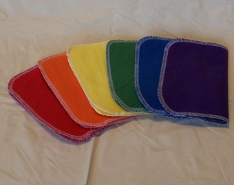 Set of 6 Solid colors, bright and/or pastel, reusable cloth napkins, baby wipes, lunch napkins