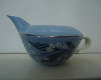 Vintage 1980's Cornflower Blue Creamer with Painted Flower Design
