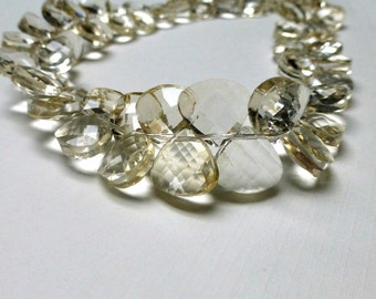 Champagne Faceted Glass Briolettes. Puffy Fan Shaped Glass Beads. Heart Shaped Faceted Glass. 12mm x 13mm. One Pair (2 beads)