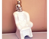 Vintage Avon Perfume Bottle Sitting Pretty Cat on Rocking Chair