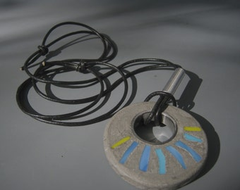 Gray concrete necklace . Blue and yellow glass tile . Adjustable leather cord . Concrete Jewelry. OOAK