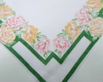 Handkerchief, Ladies Handkerchief, Womens Handkerchiefs, Hankerchief, Floral Print, 1950s, Vintage Handkerchiefs, Green, All Vintage Hankies