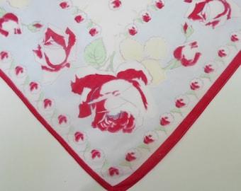 Handkerchief, Vintage Hankies, Handkerchiefs, Print Hankie, 1940s, Red, Roses, Hankerchiefs, Hankerchief, Hankie, All Vintage Hankies