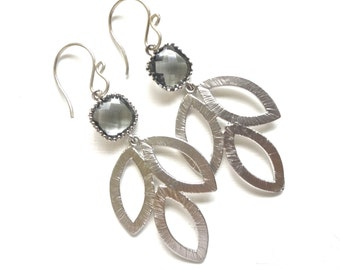 Silver Leaf Earrings with Charcoal Gray Accent - Long Metal Design - Wedding Jewelry - Gift Idea
