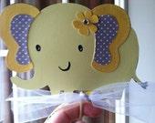 Elephant Centerpiece Yellow and Gray Skewers 6 pc, Elephant Baby Shower, Elephant Birthday Party, Elephant Decoration, Custom Made to Order