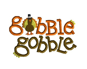 Gobble Gobble Machine Embroidery Design-INSTANT DOWNLOAD