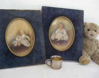 Distressed tinted photos of grumpy Edward and Phoebe - 1800s - up for adoption