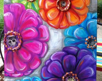 Colorful Mod Flower Painting