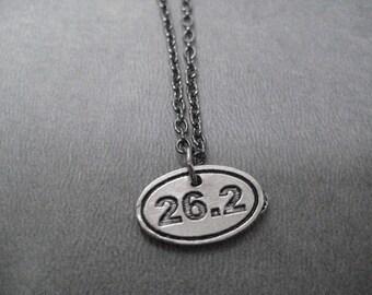 26.2 MARATHON Pewter Oval Charm Running Necklace - Marathon Running Necklace on 18 inch gunmetal chain - 26.2 Marathon Unisex Running