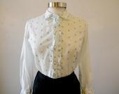 Sweet Floral Blouse / 1960s Secretary Blouse / Prim Cotton Print Ruffle / M