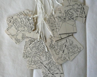 10 Silver Spring MD Vintage Map Gift Tags