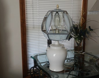 Stained Glass Table Lamp (5 Panels with Edison Light Bulb) Lamp Base Also: