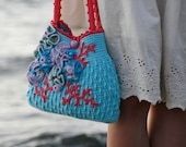 "Embellished Crochet Purse ""Aqua""  - PDF PATTERN"