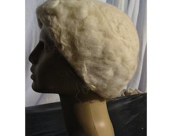 Felt Hat, Hemo Felt Hat,Felt Merino Wool Hat,Felt Woman Hat,white Hat,Felt Wool Sheaf Hat,Felt Lady Fashion Hat,Handmade,OOAK