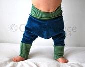Baggy baby leggings cool blue green stripe kids clothing velour stretchy jersey children harem hippie toddler trousers seventies clothes