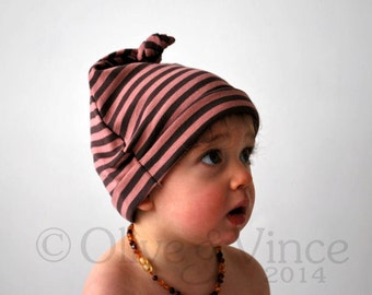 SALE - Burgundy baby hat 6-12mths striped double knot beanie cap floppy hood funky pattern toddler fashion accessory girls cute baby hat