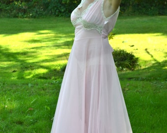 Vintage 60's Lingerie Pink See Through Double Chiffon Long Nightgown  VL154