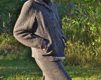 Brown Tweed Bat Wing Skirt Suit Vintage 1960's Mid Century Size Medium Large XL - VDS60