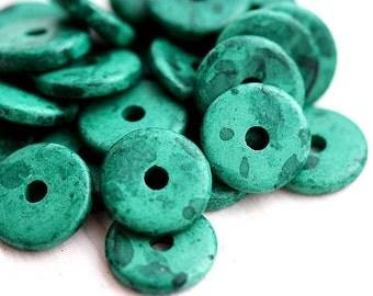 10Pc Teal green Greek Ceramic Rondelle beads - Sea Weed - 13mm spacer, washer, wheel, rondel - 0804