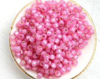 Pink Seed beads Toho size 11/0 Silver Lined Milky Mauve N 2106 japanese glass rocailles - 10g - S147