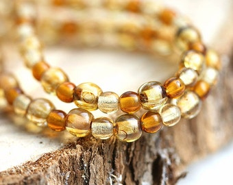 Amber Topaz Woodland beads mix, Czech glass, picasso - round spacers, druk, small - 4-3mm - approx.150Pc - 0447