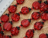 20mm Ladybug Handmade Lampwork Glass Beads, 12 beads pack L10112