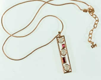NINA RICCI Pendant Necklace Gold Tone Pendant Abstract Pendant Necklace Poured Glass French Vintage 70s Jewelry