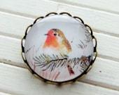 Robin Brooch .. image brooch, vintage bird, jewellery, accessories, Christmas, 25 mm, woodland, festive, vintage inspired  brooch