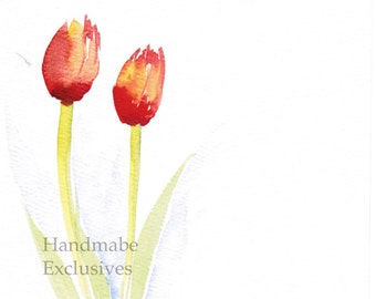 Handpainted Greeting card, Spring flowers, Red tulips,  Watercolor Card, Mother's Day, Blank, under 10, Handmade Exclusives