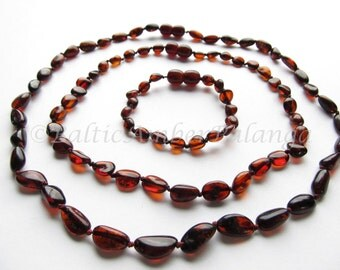 Baltic Amber Teething Necklace and Bracelet/Anklet and Mothers Reminding Necklace, Cherry Color Olive Form Beads